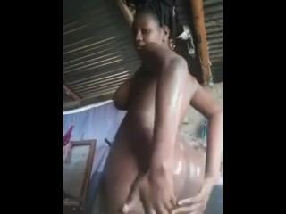 Big Boobs, Phat Ass, Long Clit Ebony Taking A Bath