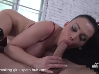 Fantastic fetish brunette with big boobs smokes and fucks