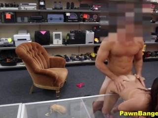 Hot Young Slut Flashes Big Boobs & Bangs Big Cock Pawn Boss