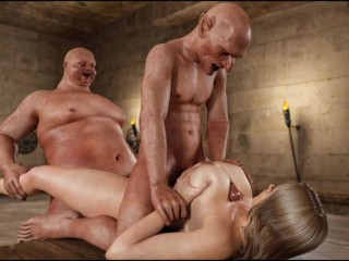 Big cock monsters fuck horny milf with big boobs in threesome bondage 3d animation video #4