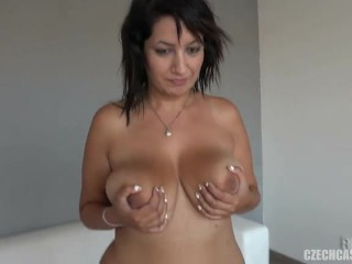 Chunky brunette with big boobs.