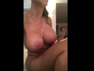 BIG BOOBS MILF WAITS FOR HUSBAND TO FALL ASLEEP TO TEST HER NEW DILDO