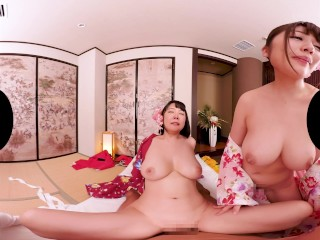 JAPANESE BEAUTIES WITH COLOSSAL TITS SERVICE YOU - [KMVR-495] 4K/VR/POV