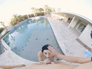 VRConk Outdoor blowjob by the pool VR Porn