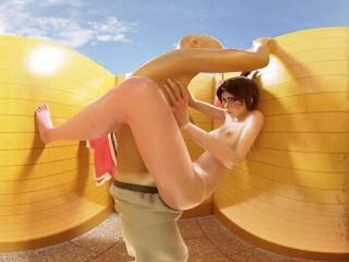 Overwatch: Dva Invites Herself Into Your Beach Stall [Voyeur Version] VR 3D
