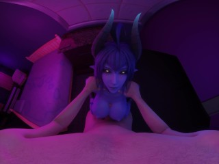 Daemon Girl: A Succubus Massages Your Cock Between Her Tits VR 3D