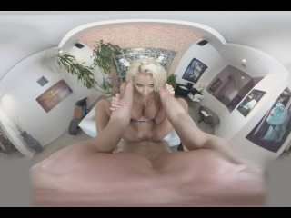 VR 360 big fake tits blonde Nicolette Shea fucked at work - cum on big tits