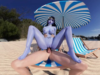 Overwatch: Widowmakers Anal Beach Fuck (3rd Person, Voyeur) VR 3D