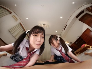 KMVR-849 A - two japanese schoolgirls doing blowjob VR