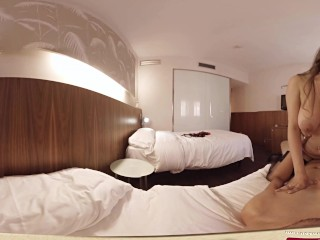 VR Porn Brunette fucked on a hotel in 360