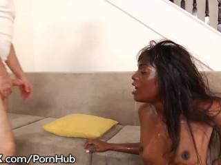 Ebony Babe Ana Foxxx - 10 Hardcore Blowjobs - Hot Bukkake
