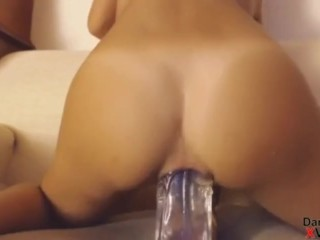 Vicious italian greedily takes a huge glass dick deep into her ass