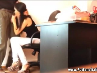 Italian secretary gives boss a blowjob in office