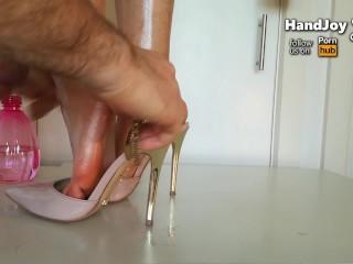 HandJoy * Cumshot on Goddess Hira's sexy oiled feet and pink pumps