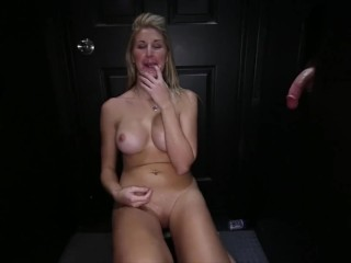 dumb blonde whore swallows 15 cum shots in one sitting