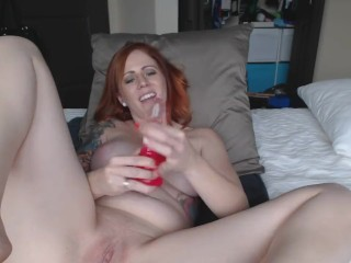 Sexy Redhead Masturbates and Worships Her Feet