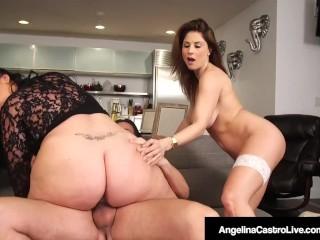 Hot BBW Angelina Castro condivide il cazzo di BF con Roberta Gemma!