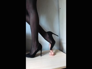Do you want to cum on my shoes? High heels, nylon stockings. Footjob