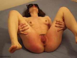 long pussy spanking with belt, moaning and trembling from agitation