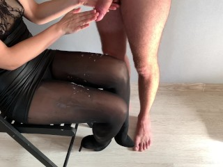Fast and huge ruined cumshot on her legs after chastity release