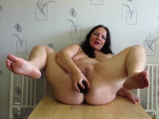 gaping ass busty mature milf. Hard anal with huge dildo