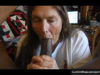 Amateur mature wife sucking big-black cock
